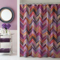 Collier Campbell Ziggurat Cotton Shower Curtain basement bath with orange rug