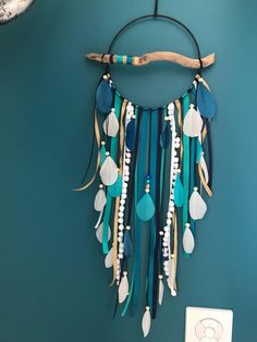 Driftwood dream catcher in duck blue, green, white and black Navy Blue Color, Blue Green, Hanger Game, Green Corridor, Blue Dream Catcher, Ceramic Beads, Girl Room, House Colors, Manualidades