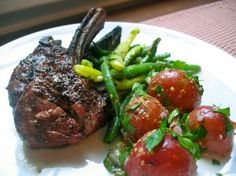 Grilled Lamb Chops with Tarragon Beans and Baby Red Potato Salad Posted by Recipe Sleuth