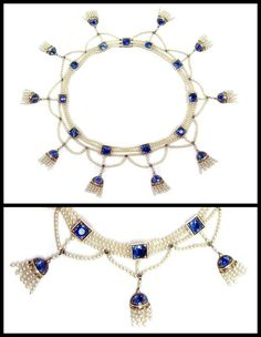 Antique Edwardian sapphire, rose-cut diamond, and seed pearl fringe necklace. Circa 1900.