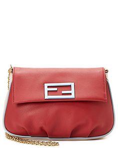 FENDI Fendista Bi-color Leather Shoulder Bag