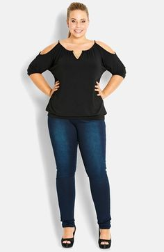 City Chic 'Bermuda Triangle' Cold Shoulder Knit Top (Plus Size)