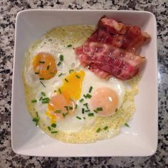 Free-range eggs • Chives • Pinch of sea salt • Low-sodium organic bacon • Olive oil