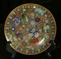 Japanese Kyoto Cloisonne Enamel Plate