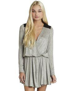 Grey Long Sleeve V Neck Casual Dress 19.59