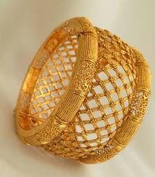 Buy Grandiose Gold Kada with Intricate Craftsmanship - JFL bangles-and-bracelet online