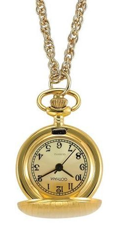 Gotham Women's Classic Etched Style Gold-Tone Quartz Fashion Pendant Watch # GWC14336GC Gotham. Save 42 Off!. $34.95. Precision Japanese analog quartz movement. Includes 28 inch gold-tone rope neck chain. Rich gold-tone sun ray dial with black Roman numerals and classic black hands. Arrives with deluxe draw string pouch and gift box, operating instructions and lifetime limited warranty. Elegant gold-tone polished and etched covered pendant timepiece