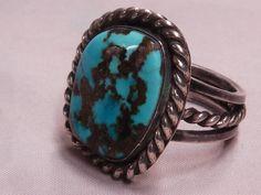 Old pawn Gem Grade Blue Bisbee Turquoise Ring, Lavendar Matrix; Navajo