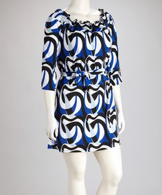 Take a look at this Blue Abstract Three-Quarter Sleeve Dress - Plus on zulily today!