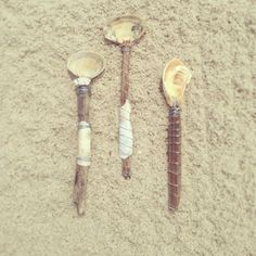 DIY SPoons made with drift wood, oyster and clam shells.