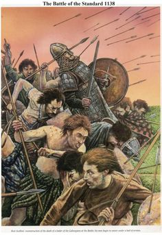 The Battle of the Standard, 1138 AD, in which a Norman English army defeated an invading Scottish army near Northallerton. In spite of the loss, the Scottish King, David I, got much of the territory he sought by concession.