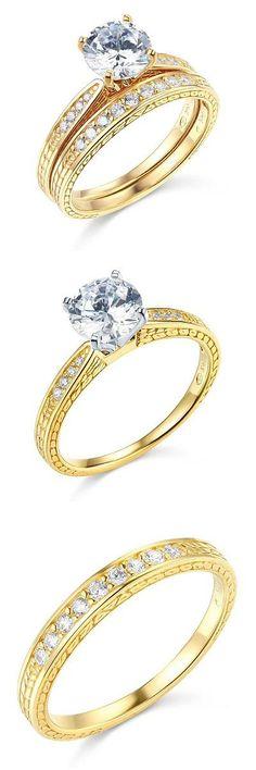 Diamonds and Gemstones 92909: 1.35 Ct Round 14K White Gold Man Made Diamond Engagement Wedding Ring 2 Pc Set -> BUY IT NOW ONLY: $328.9 on eBay!