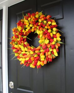 Spring Wreath Door Wreath Easter Wreath Tulip by elegantholidays, $80.00