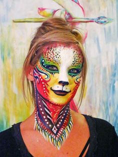 Halloween costume makeup and face paint. Cosplay face paint watercolor rainbow beautiful costume pretty not scary tribsl