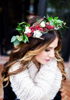 201 best flowers in her hair brides bridesmaids images on a floral crown fit for a christmas bride he loves me flowers seasonal floral crown mightylinksfo