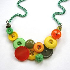 Funky Necklace in Yellow Orange Bright Green by buttonsoupjewelry.