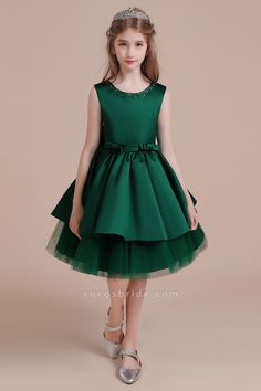Bow Beading Satin Tulle A-line Flower Girl Dress Shop a great selection of Clearance Dark Greeen Flower Girl Dress, Casual Flower Girl Dresses, A-line Flower Girl Dress at Cocosbride. Prom Dresses Uk, Dresses For Sale, Dresses Online, Girls Dresses, Bridesmaid Dresses, Green Flower Girl Dresses, Tulle Flower Girl, Tulle Flowers, Frock Design