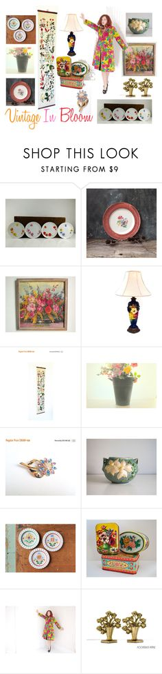 """Vintage In Bloom"" by vintageandmain ❤ liked on Polyvore featuring interior, interiors, interior design, home, home decor, interior decorating, Arabia and vintage"
