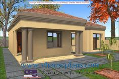 Overall Dimensions- x mBathrooms- 3 Garages- 2 Car Garage Area- Square meters Round House Plans, My House Plans, House Floor Plans, Two Bedroom House Design, Bungalow House Design, Beautiful House Plans, Beautiful Homes, Affordable House Plans, Flat Roof House
