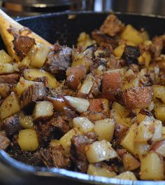 Cast Iron Potato & Brisket Hash with Bell Peppers & Onions - Fired Up Food