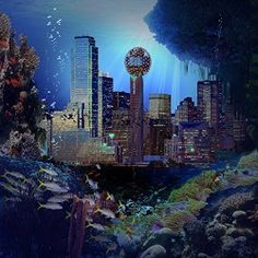 Photography Backdrop – Underwater City – 10×10 Ft. – 100% Seamless Polyester