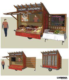 Vegetable Stand // Trailer // Make Money Homesteading // Kiddo Entrepreneur Ideas Mobile Kiosk, Mobile Shop, Mobile Stand, Mini Mercado, Farmers Market Display, Produce Market, Vegetable Stand, Produce Stand, Kombi Home