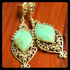 "**SALE** Turquoise & Sterling Silver Earrings **TODAY ONLY** 2"" long and really lovely, these are made with Sleeping Beauty turquoise and .925 sterling silver. They have stud backs and hang beautifully. Perfect condition. Jewelry Earrings"