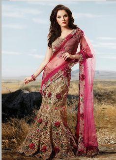 Beige And Pink Net Wedding Lehenga Choli