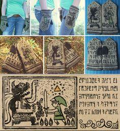 Legend of Zelda: The Wind Waker Knit Mittens by kateknitsalot on DeviantArt. Knit but a great pattern, love it.