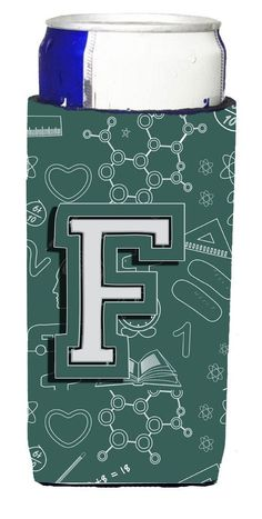 Letter F Back to School Initial Ultra Beverage Insulators for slim cans CJ2010-FMUK