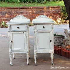 This is a custom order for a pair of shabby chic refinished antique nightstands you get to be a part of their restoration! The antique nightstands Shabby Chic Nightstand, Shabby Chic Vanity, Shabby Chic Furniture, Vintage Nightstand, Furniture Vintage, Wood Furniture, Furniture Ideas, Modern Furniture, Shabby Chic Cottage