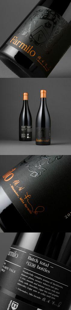 David Byerlee Design - Farmilo McLaren Vale Shiraz / Submit: worldpackagingdesign.com/submit / World Brand and Packaging Design Society