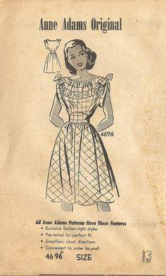 1940s Anne Adams 4696 FF Vintage Sewing Pattern Junior Miss