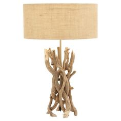 Showcasing a driftwood-inspired base and round drum shade, this charming table lamp adds artful appeal to your living room or home library. $105