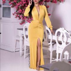 Mabel Deep Plunge V Maxi Yellow Dress