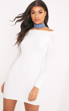 Cream Bardot Mini Jumper Dress Freshen up your dress collection for the new season and indulge i...