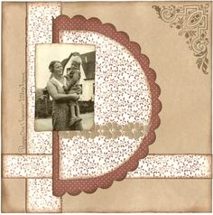 Dad in Grandma's Arms ~ simply designed heritage page with a great ink distressed background.