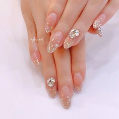 Korean Nail Art, Korean Nails, Japan Nail Art, Asian Nails, Kawaii Nails, Wedding Nails Design, Elegant Nails, Aesthetic Makeup, Beauty Shop