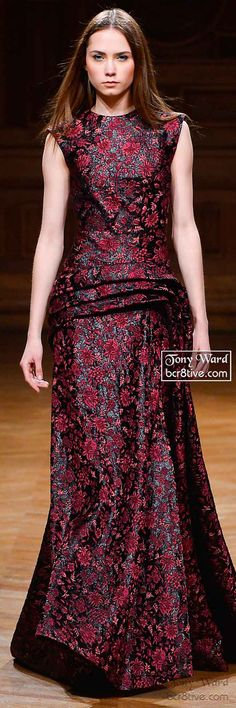 Ruby Red Floral Sculpted Gown