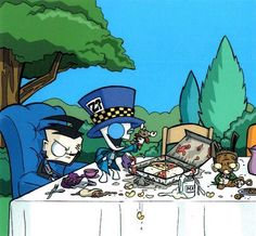 invader zim tea party. i feel like there's probably more to this picture.