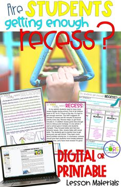 Perfectly paired text passages for opinion writing in the classroom on recess. Digital or printable, compatible with Google Slides and perfect for distance learning.