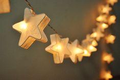 35 Bulbs Handmade White mulberry paper Stars Lanterns by ginew, $18.50