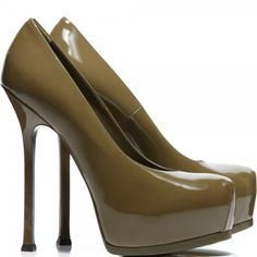Tribtoo olive patent leather shoes ($860) ❤ liked on Polyvore