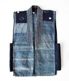 "Japanese Indigo Boro Vest boro_kimono Boro is a Japanese word meaning ""tattered rags"" and it's the term commonly used to describe patched and repaired cotton bedding and clothing lovingly used much longer than the normally expected life cycle. A Well Traveled Woman, Denim Ideas, Japanese Textiles, Japanese Fabric, Vest Pattern, Indigo Dye, Old Jeans, Japanese Outfits, Boro"