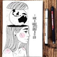"Inktober 3/31: ""I have a whole little world in my head"" Sometimes I do stuff where I think afterwards ""Oh man Dina. that was stupid! "" I wanted to make the water of the globe black. But then I realised I had made the inside of her head black ... so it wouldn't have contrasted well. sooo I had to make the water white and the countries black ..art is a progress. You will make mistakes sometimes ...nevermind, I actually dont mind this picture now! #inktober #inktober2017 @inktober #art..."