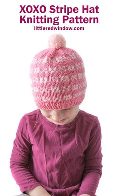 This adorable Valentine's Day XOXO stripe hat knitting pattern has a cute pattern of x's and o's, perfect for your baby or toddler! Baby Knitting Patterns, Free Knitting, Crochet Patterns, Easy Craft Projects, Sewing Projects, Knitting Projects, Yarn Crafts, Fabric Crafts, Berlin