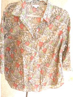 Charter Club Button Down Shirt 20W Linen Cotton Floral Green Orange