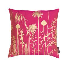 Discover the Clarissa Hulse Seed Heads Cushion - 45x45cm - Hot Pink/Antique Gold at Amara