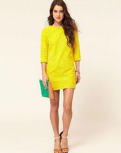 Resultado de imagen para vestido amarillo corto encaje