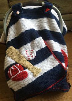 35 Ideas For Baby Crochet Gifts Car Seats Baseball Baby Blanket, Crochet Baby Booties Tutorial, Car Seat Cover Pattern, Boy Crochet Patterns, Baby Patterns, Baby Carrier Cover, Baby Blanket Crochet, Crochet Carseat Cover, Crocheted Afghans